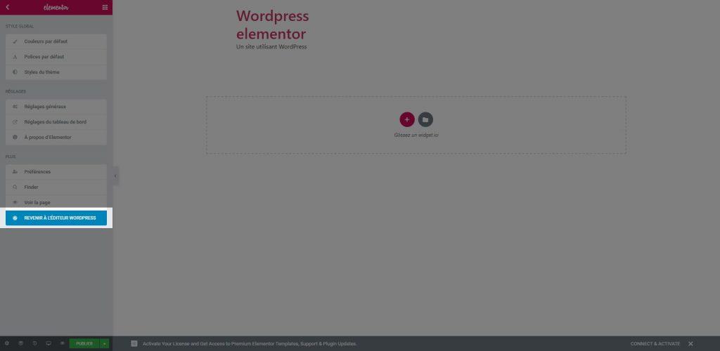 revenir a l'éditeur wordpress